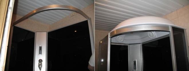 Монтаж верхней дуги, на которую впоследствии будет установлена крышка кабинки