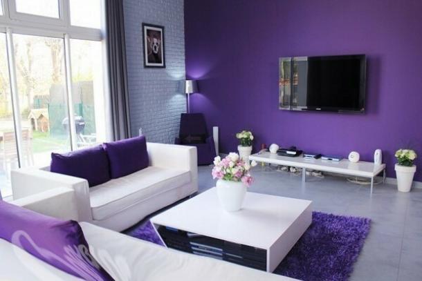 Зал с фиолетовыми обоями