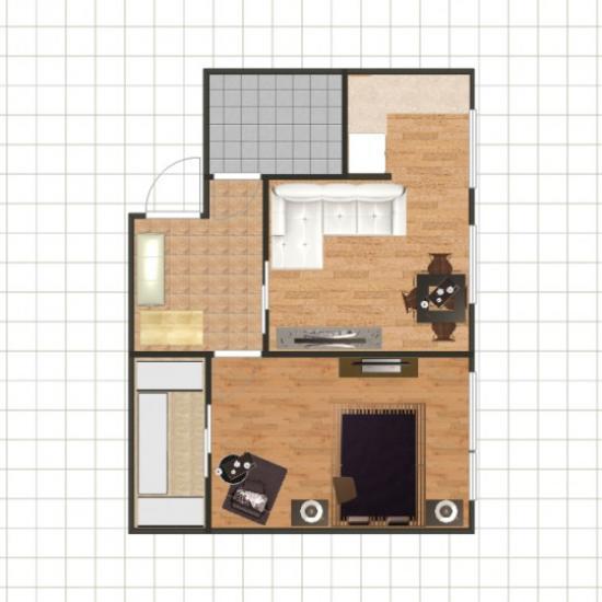 Размещение дивана в гостиной - первый вариант
