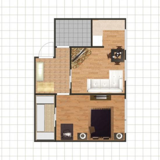 Размещение дивана в гостиной - второй вариант
