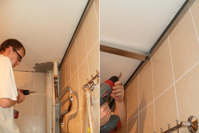 Монтаж жесткого профиля по периметру потолка и монтаж поперечной планки