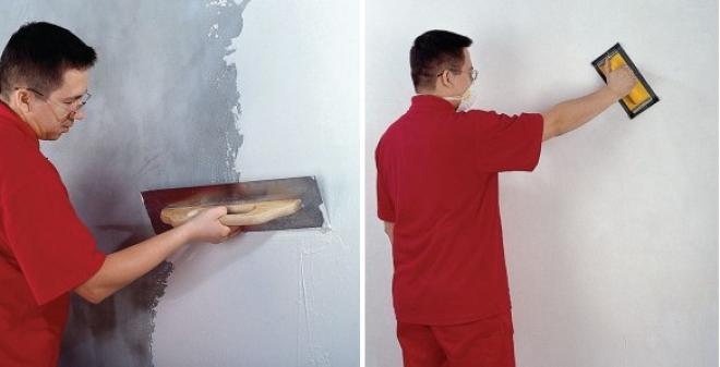 Процесс шпаклевки оштукатуренных стен