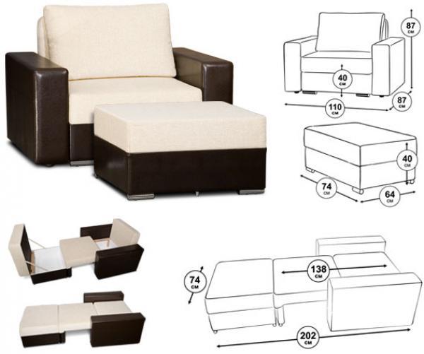 Габариты кресла кровати