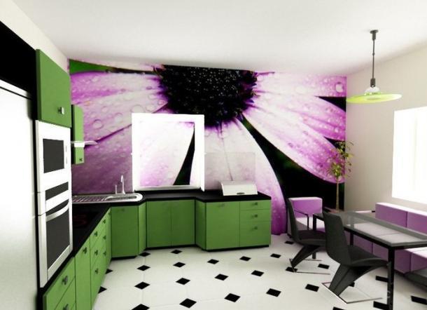 Обои с ярким рисунком на кухне