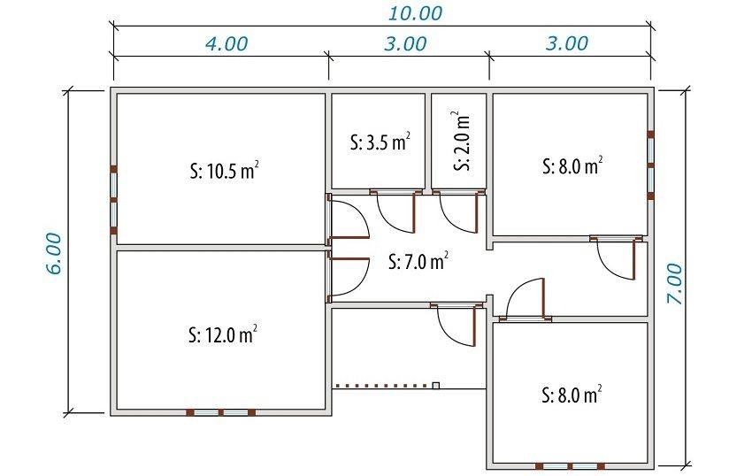 Проект одноэтажного деревянного дома 10х7 м из бруса