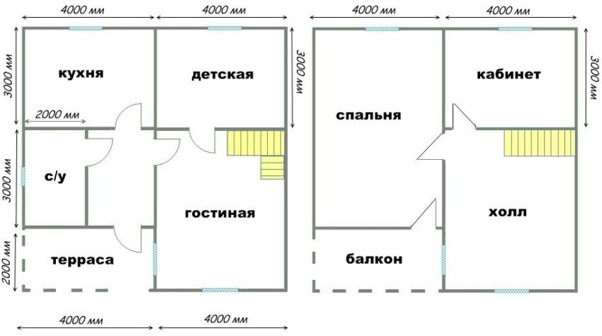 Пример проекта простого и удобного двухэтажного коттеджа