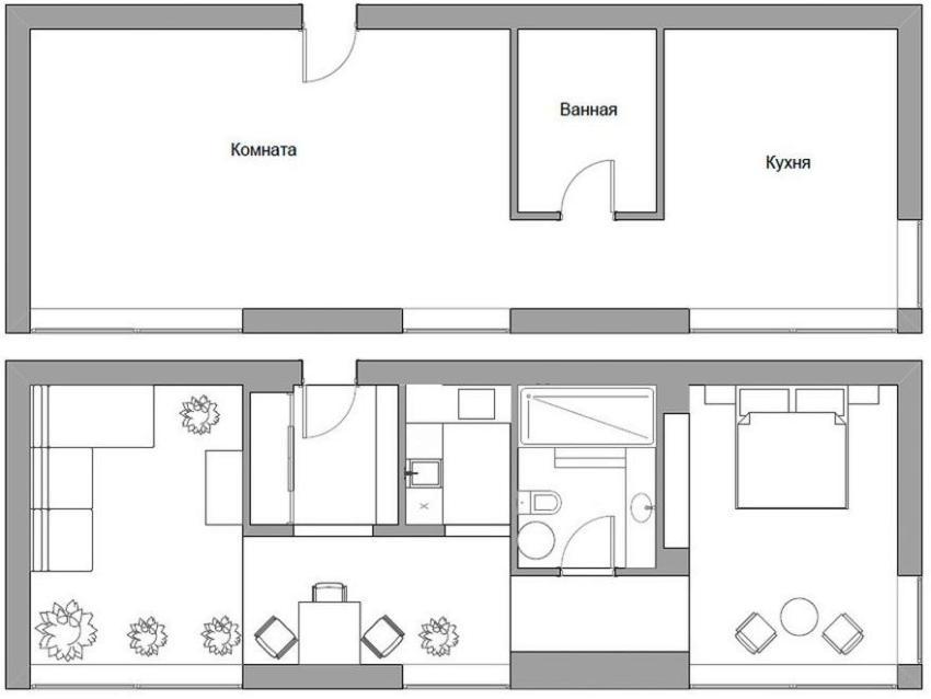 Удачная перепланировки однокомнатной квартиры площадью 50 кв.м