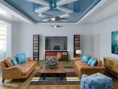 Монтаж двухуровневых натяжных потолков для зала: фото и рекомендации