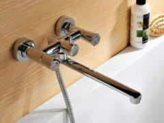 Смесители с душем для ванной с длинным изливом
