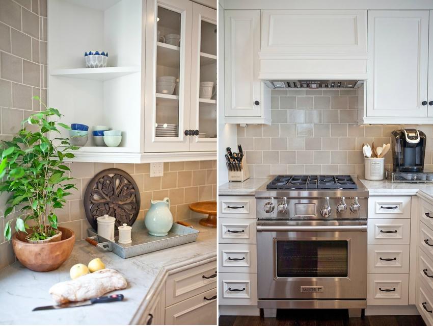 Глянцевая плитка кремового цвета отлично подходит для оформления дизайна кухни в классическом стиле