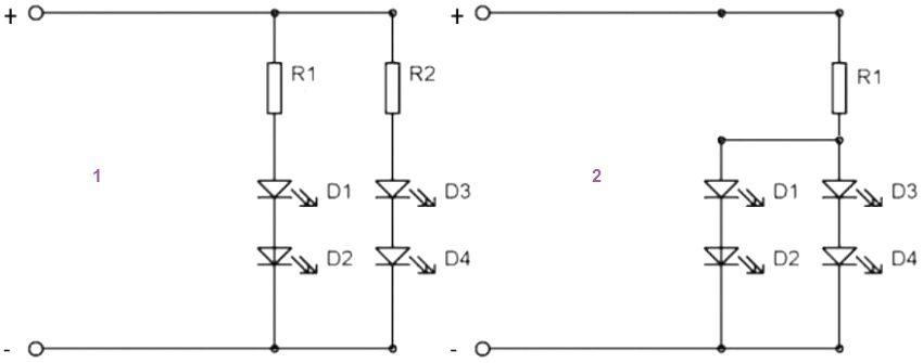 Схемы параллельного подключения светодиодов. В варианте 1 на каждую цепь диодов используется отдельный резистор, в варианте 2 - один общий для всех цепей