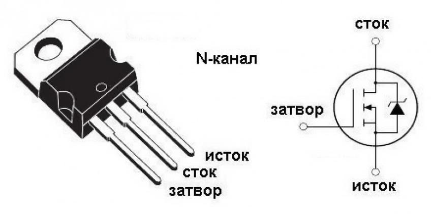 Устройство полевого транзистора с N-каналом