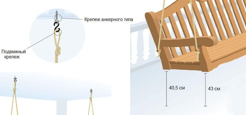 Деревянные качели-скамья, шаг 6 : подвешивание конструкции