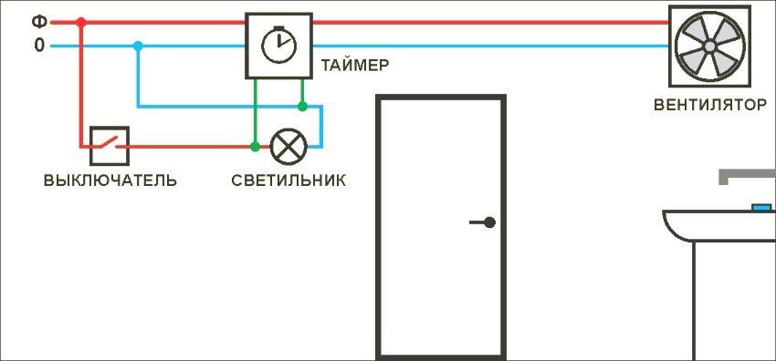 Схема управления вентилятором с использованием таймера
