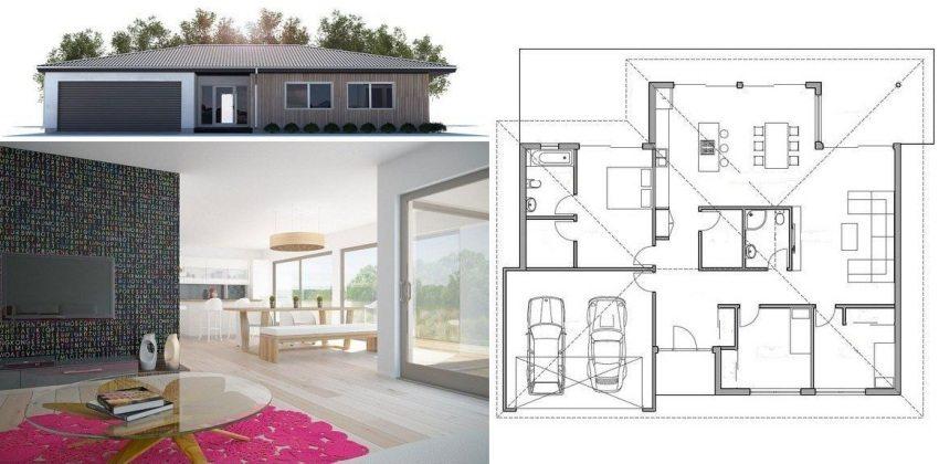 Дизайнерский проект частного дома с гаражом и тремя спальнями