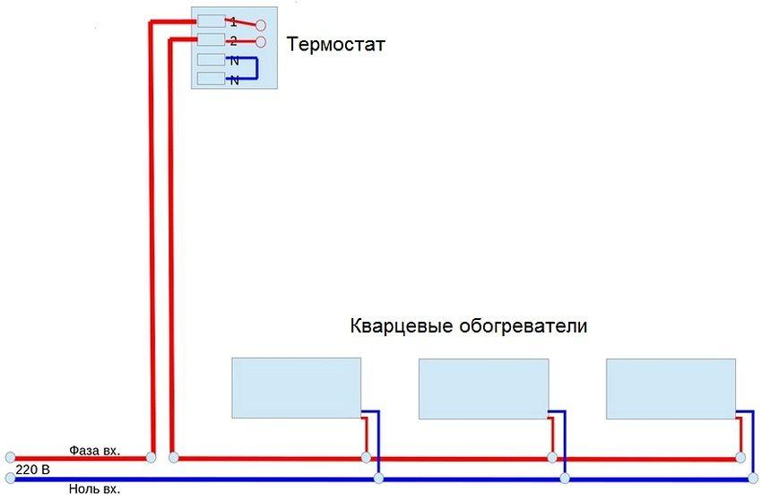Схема подключения кварцевых обогревателей к электросети