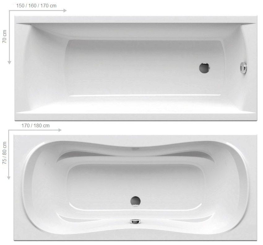Стандартные размеры прямоугольных ванн