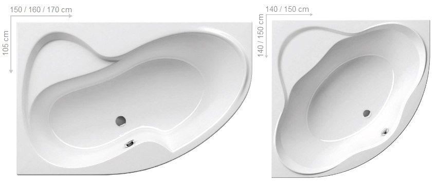 Размеры угловых акриловых ванн