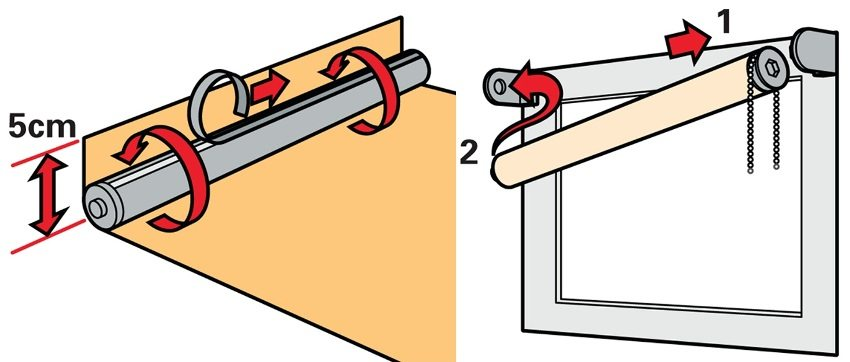 Шаг 5: крепление и наматывание полотна на вал, установка шторы в кронштейны
