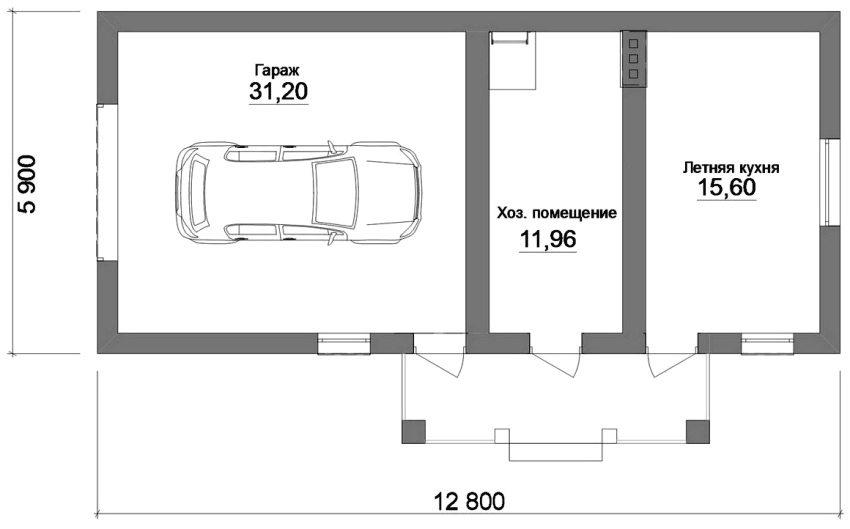 Проект дачной постройки с обустройством гаража, хозяйственного помещения и летней кухни