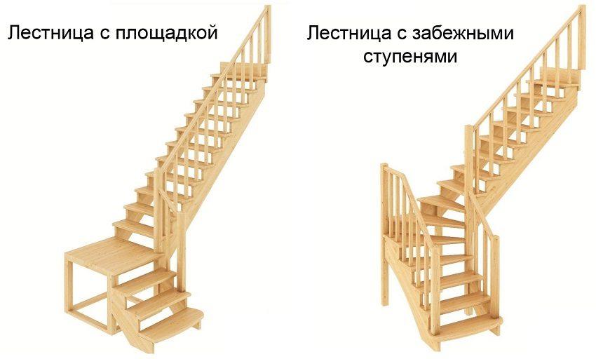 Конструкции лестниц с поворотом на 90 градусов