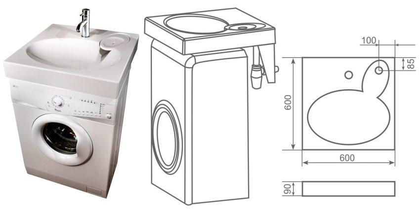 Раковина Claro для установки над стиральной машиной от PAA Bath