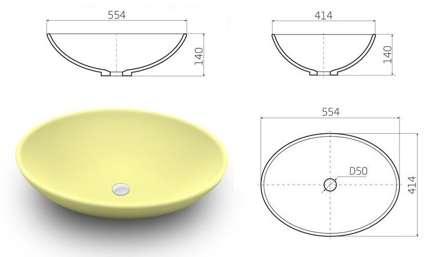 Размеры овальной раковины Scorino из акрилового камня