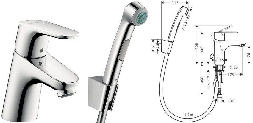 Смеситель с гигиеническим душем Focus E2 производителя HANSGROHE
