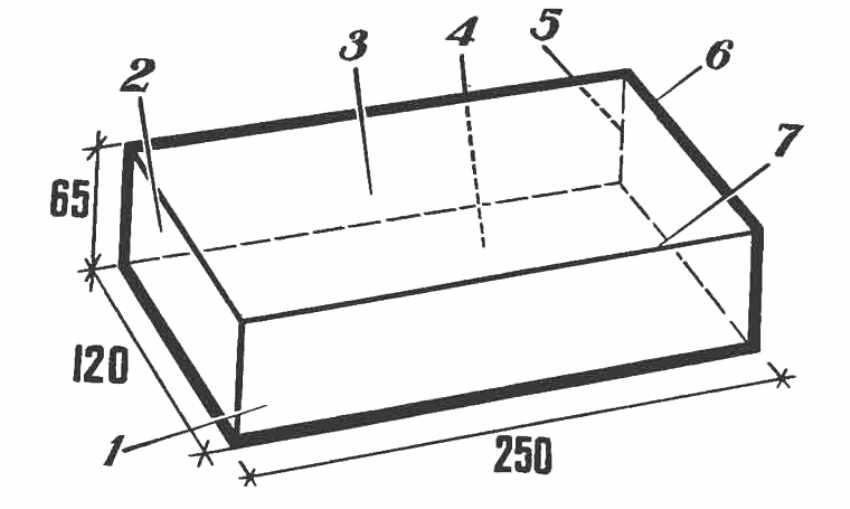 Размеры стандартного силикатного кирпича и названия его сторон: 1 - ложок, 2 - тычок, 3 - верхняя постель, 4 - нижняя постель, 5 - вертикальное ребро, 6 - горизонтальное поперечное ребро, 7 - горизонтальное продольное ребро