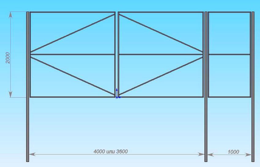 Схема каркаса из профилированной трубы для распашных ворот с калиткой