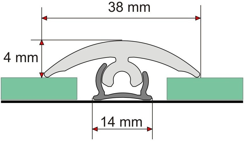 Вид в разрезе и размеры гибкого декоративного порога