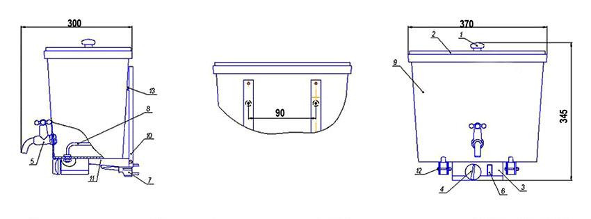 1. Ручка крышки, 2. Крышка, 3. Блок управления, 4. Терморегулятор, 5. Кран шаровый, 6. Клавишный выключатель, 7. Шнур, 8. ТЭН, 9. Емкость для воды, 10. Кронштейн настенный, 11. Кронштейн опорный, 12. Винт, 13. Втулки