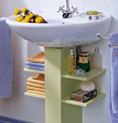 Как спрятать сифон под раковиной в ванной - интересная идея
