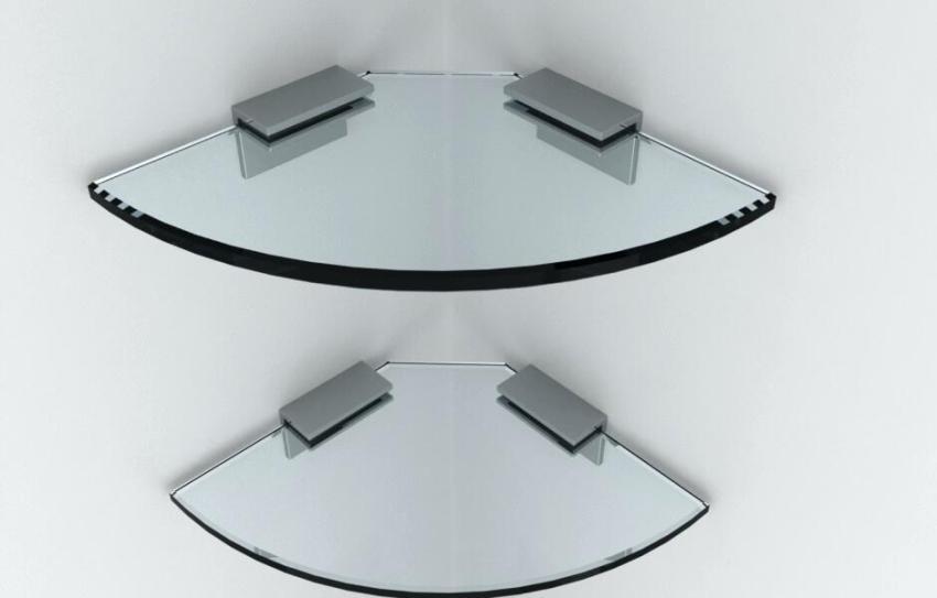 Угловые стеклянные полки крепят к стене с помощью специальных зажимов