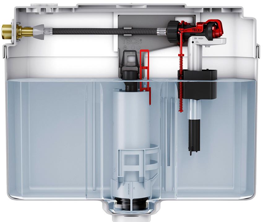 Вода может поступать в бачок через клапан, который находиться в днище или стенке