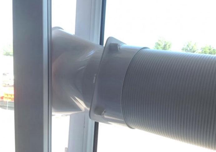 неправильный вывод трубы от напольного кондиционера в окно