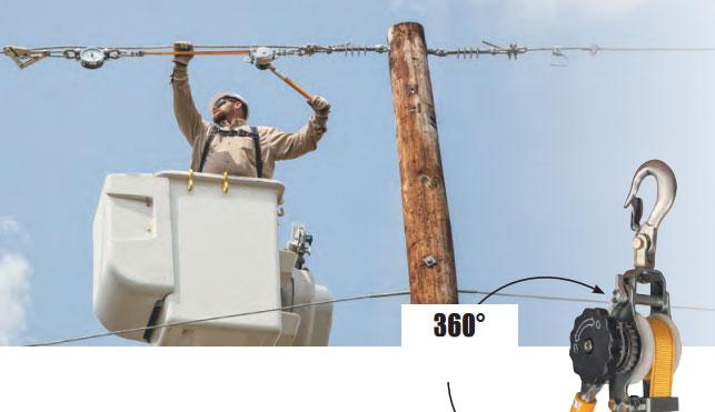 натяжение проводов на деревянной опоре с помощью лебедки