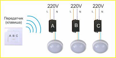 схема подключения техклавишного беспроводного выключателя света на 3 лампочки