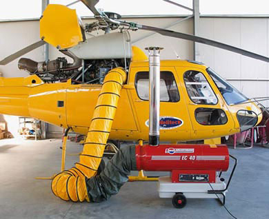обогрев вертолета тепловой пушкой дизельной