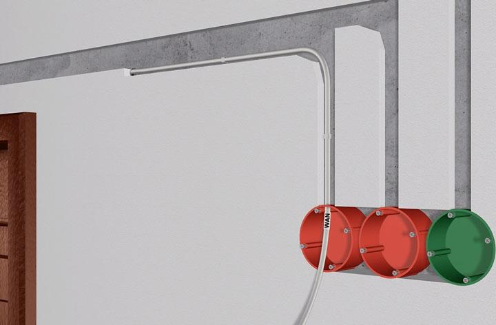 кабель WAN от интерент провайдера в розетку дома