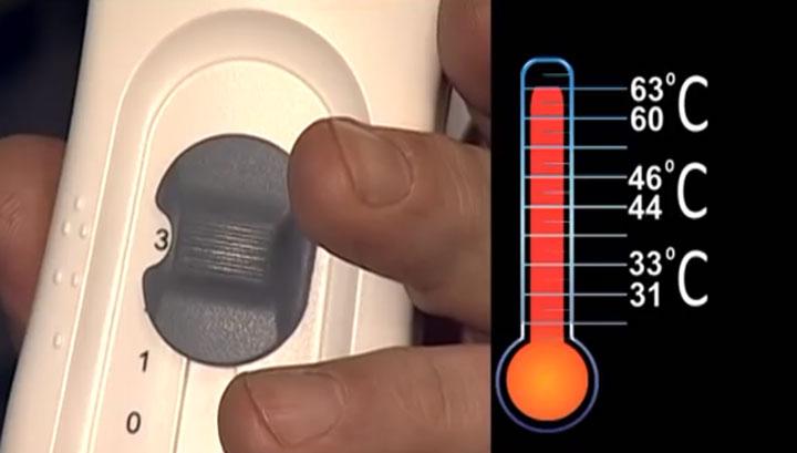 переключатель и регулировка температуры нагрева простыни с подогревом