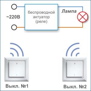 два проходных выключателя без проводов для освещения из двух мест