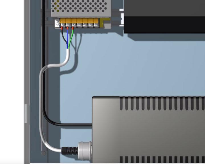 подключение ИБП и блока питания в шкафу видеонаблюдения