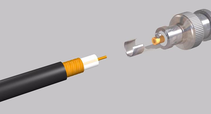как снимать изоляцию с коаксиального кабеля для подключения видеокамеры