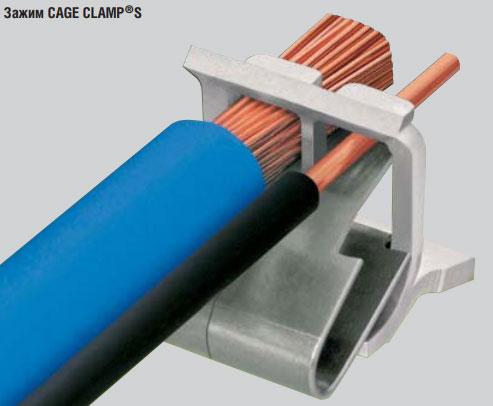 соединение многопроволочного и одножильного провода в одном зажиме Wago