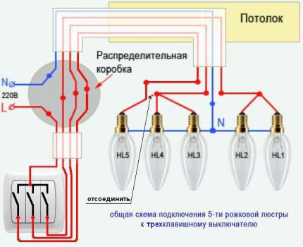 схема подключения люстры на 5 лампочек