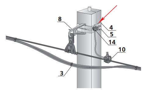 соединение заземляющего спуска на опоре через прокалывающий зажим