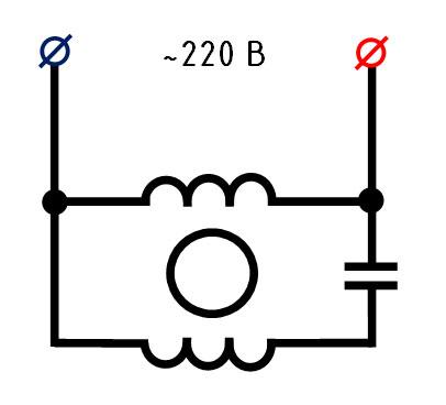 упрощенная схема подключения двигателя вентилятора
