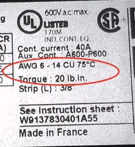 подбор сечения провода для контактора awg и мм2