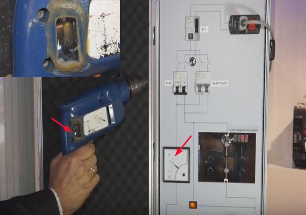 будет ли реагировать устройство защиты от дуги на искрение при работе дрели